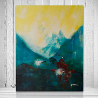 Norwegian mountains abstract landscape painting