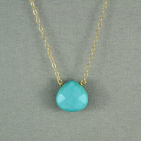 Beautiful Turquoise Heart Necklace, Natural Stone Bead, 14K Gold Filled Chain, Wonderful Jewelry