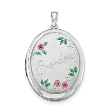 Sterling Silver Rhodium-plated Grandma W/ Enamel Flowers 34mm Oval Locket QLS532
