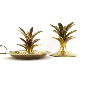 Vintage Brass Pineapple Top Candle Holders / Set of 2 / Instant Collection / Pair of Vintage Sculptural Accents / Gold Hollywood Regency