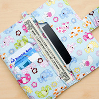 ELEPHANT IPHONE WALLET Women iPhone 6 Plus 5 5s Purse Card Holder iPhone Case iPhone Sleeve iPhone Pouch Samsung Galaxy s3 s4 s5 Note 2 3 4