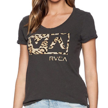 Leopard Letters Print Short Sleeve Graphic Tee