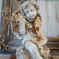 Cherub angel w/ bird statue French Santos inspired handmade crown adorned angelic figure shabby cottage chic home decor Anita Spero Design