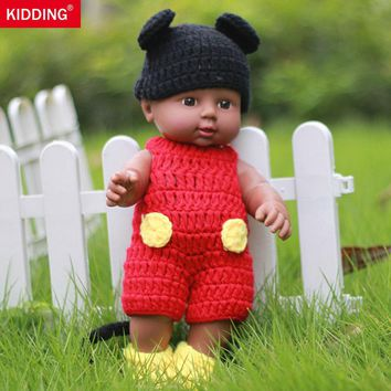 Newborn Reborn Dolls 12'' Handmade   Black Boy Girl Baby Silicone Vinyl   30CM With Black and Red Clothes