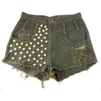 army green high wasted shorts