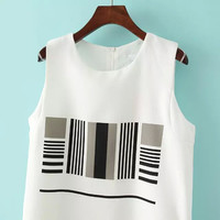 White Sleeveless Striped Two Pieces Dress -SheIn(Sheinside)