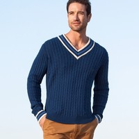 Men's V Neck Cable Sweater | Cable Detail Sweater | Wool Overs USA