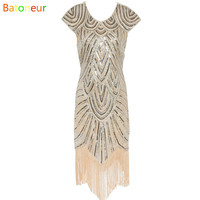 Woman 1920s Flapper Sequined Dress Vintage Great Gatsby Charleston paillettes Fringe night  Party Dress Plus Size Spring Dress