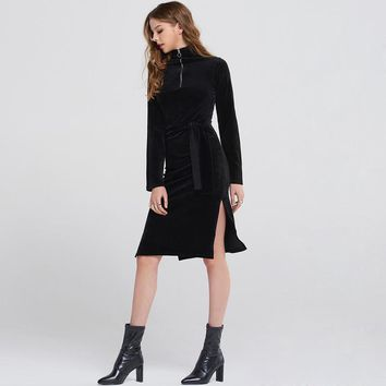 Fashion slim solid long sleeve lace-up  zipper turtleneck \woman's Casual velvet dress