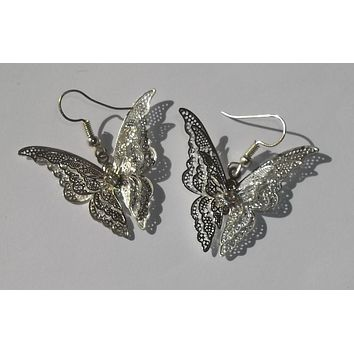 "3D Butterfly Silver Filigree 1.5"" Butterfly Fashion Earrings"