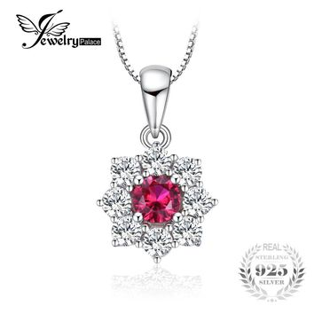 Flower 0.8ct Created Ruby Halo Necklace Real 925 Sterling Silver