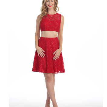 Red Lace Two Piece Short Dress 2015 Prom Dresses