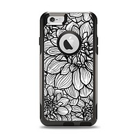 The White and Black Flower Illustration Apple iPhone 6 Otterbox Commuter Case Skin Set