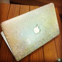 SAMPLE SALES Clear crystal laptop cover fr Macbookair 11  handmade w/ Swarovski element