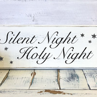 Christmas Home Decor, Silent Night, Holy Night, Wood Sign, Vintage, Shabby Chic Christmas Decor, Decorations, Holidays Decor