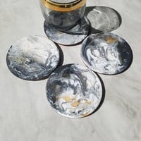 Original Resin Black white and gold coasters