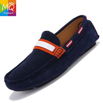 MQ Men's 100% Genuine Leather Driving Shoes,2016 New Moccasins Handmade Shoes,Brand Design Flats Loafers For Men Y230