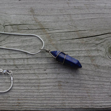 Blue Lapis Lazuli Pendant and Sterling Silver Chain ~ Healing Stone ~ Chakra Stone ~ Semi Precious Pendant ~ Unisex Necklace ~ Unique gift