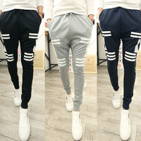 Contrast Striped Drawstring Baggy Sweatpants