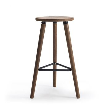 Industrial Vintage Antique Bar Stool Chair Round Seat Wooden Loft Style Furniture Counter Bar Stool Leg Solid Wood