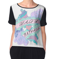 'Waifu Material' Women's Fitted Scoop T-Shirt by Al Pullen