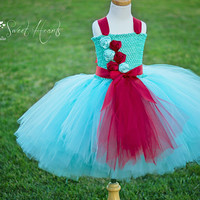 Aqua and Red Girls Tutu Dress, Flower Girl Dress, First Birthday Tutu, Pageant Dress, Handmade Dress for Toddlers
