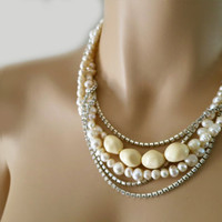 Bridesmaids Pearl Jewelry, Freshwater Pearl  Necklace, Bridal Pearl Necklace, Pearl Rhinestone for Weddings with Vintage Glamour 1920s