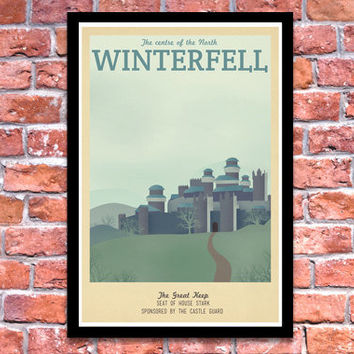 Retro Travel Poster - Game of Thrones - Winterfell - A3 Modern Vintage Stark Lannister Jon Snow Tyrion Daenerys Typography Art Print