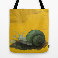 Green Garden Snail Tote Bag by Kate Halpin | Society6