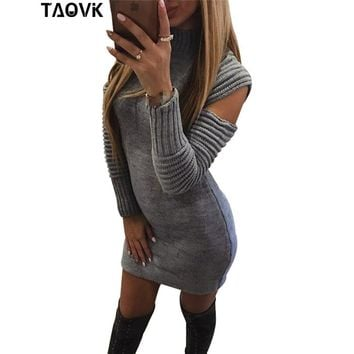 TAOVK wool knitted dress hollow out sleeve sweater crew neck knitwear Lady mock neck ruffled sleeves pullovers dresses