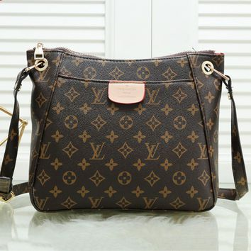 LV fashion casual lady shopping bag hot seller with printed shoulder bag Coffee LV print