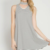 Black/White Striped Choker Swing Dress
