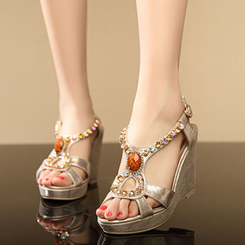 Rhinestone Platform Sandals Women Wedges Ankle Wrap Beach Shoes Woman