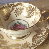 Antique English tea cup set, vintage 1950's Paragon beige and gold tea cup and saucer, bone china tea set