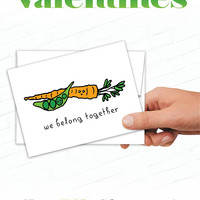 Cute Valentines Day Cards, Peas and Carrots, We Belong Together, Vegetables, Illustrated Food Valentines, Love Cards, Hand Drawn Valentine