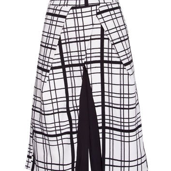 White and Black Grid Culottes