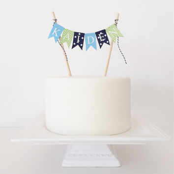 2nd Birthday Cake Topper Bunting, Boy Birthday Cake Topper, Chevron Cake Banner -  Customized