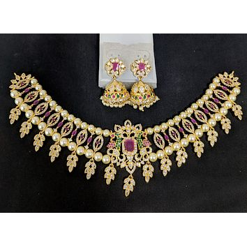 Statement set - One gram gold Chick collar style choker necklace and Jhumka earring set