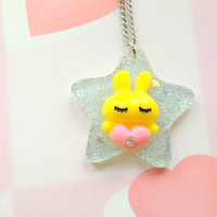 Kawaii sparkle star bunny pendant - yellow and mint green -  Fairy kei jewelry - sweet lolita - pastel goth - cute charm necklace