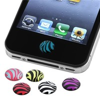INSTEN 6 Pieces Zebra Patterns Home Button Sticker for Apple® iPhone® 4S