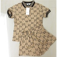 Gucci Summer Fashion Women Casual Short Sleeve Top Shorts Set Two-Piece Sportswear Khaki