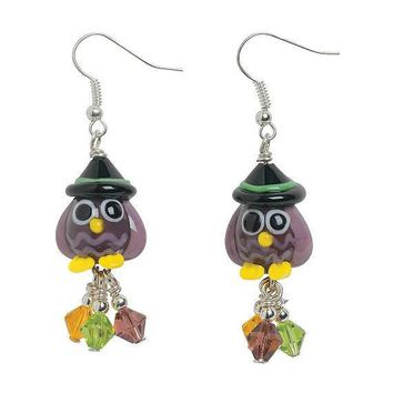 Owl Witch Lampwork Earrings