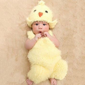 Newborn Photography Props Infant Kids Lovely Chicken Hat Suspenders Bird Shaped Baby Photography Newborn Baby Caps