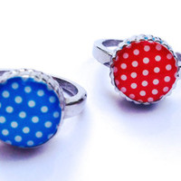 Best friend ring, sisters rings, polka dot rings, stainless steel with blue and red polka dot design.