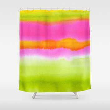 Pretty ombre coral pink and green pastel ikat watercolor hipster soft art print. Shower Curtain by iGalaxy | Society6