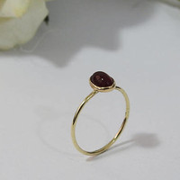 Engagement Ring, Solitaire Ring, Carnelian Ring, Thin Ring, 5x7mm Cabochon 9K Yellow, Rose or White gold, August Birthstone