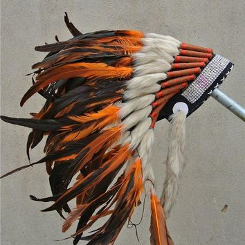 ONETOW Orange indian feather headdress Hand made indian war bonnet native american halloween costumes with silver headband