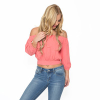 Senorita Off Shoulder Top in Coral