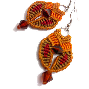 Handmade Macrame earrings made with wax cord, glass christals and sterling silver earring hocks