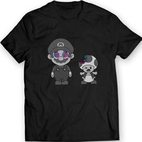 Super Mario Infected Mushrooms Shirt 100% Cotton Tee